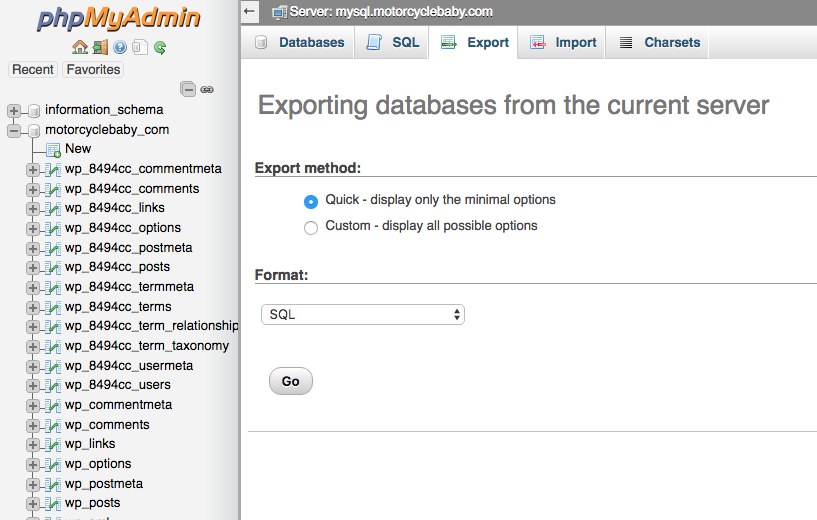 Dreamhost's phpMyAdmin export page